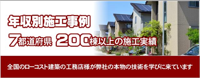 ライフプラスハウスは7都道府県に渡ってご注文頂き過去200棟以上の施工実績があります。全国のローコスト建築の工務店様が弊社の本物の技術を学びに来ています。